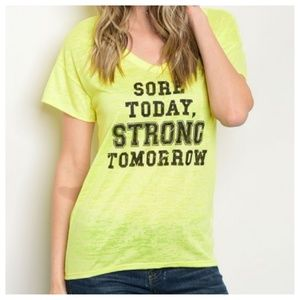 ❤️ Yellow Graphic Tee Sore Today Strong Tomorrow